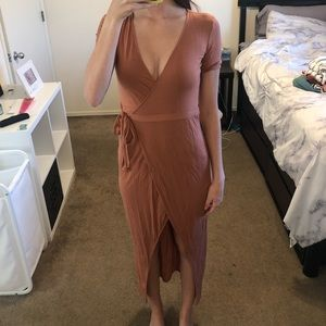 Cross cross and tie low and high cut dress